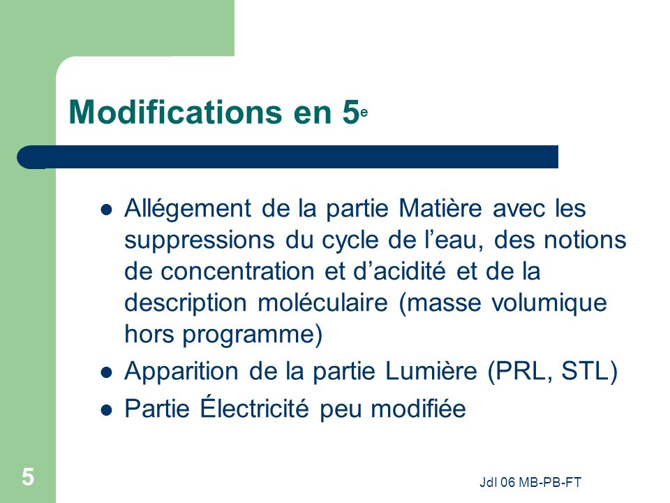 Modifications en 5e