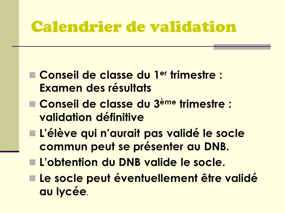 Calendrier de validation