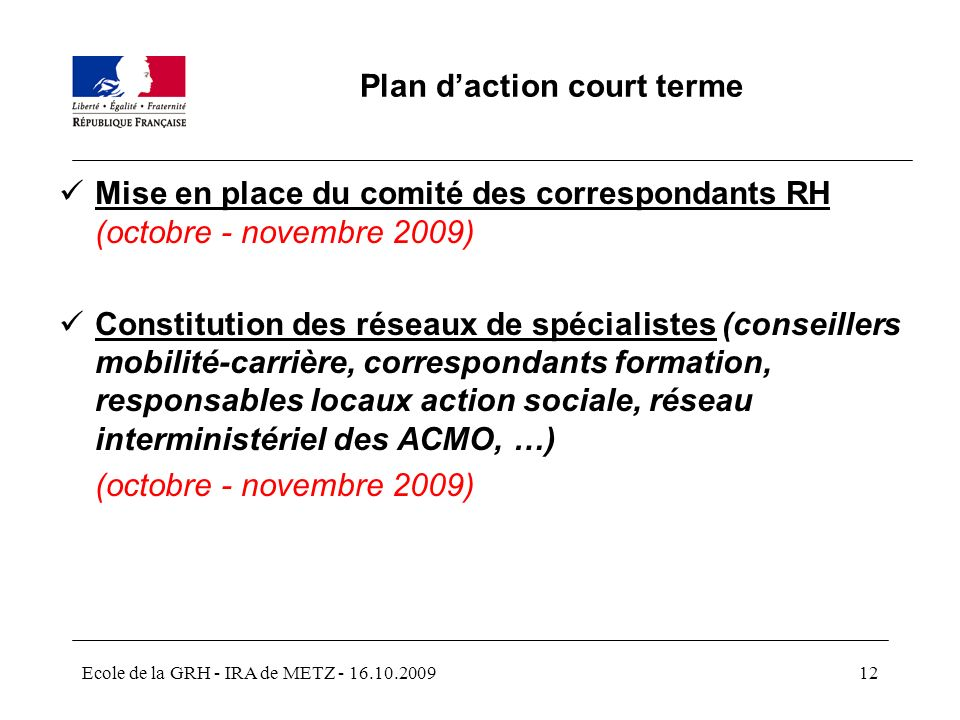 Plan d'action court terme