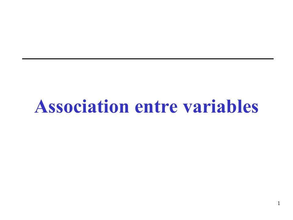 Association entre variables