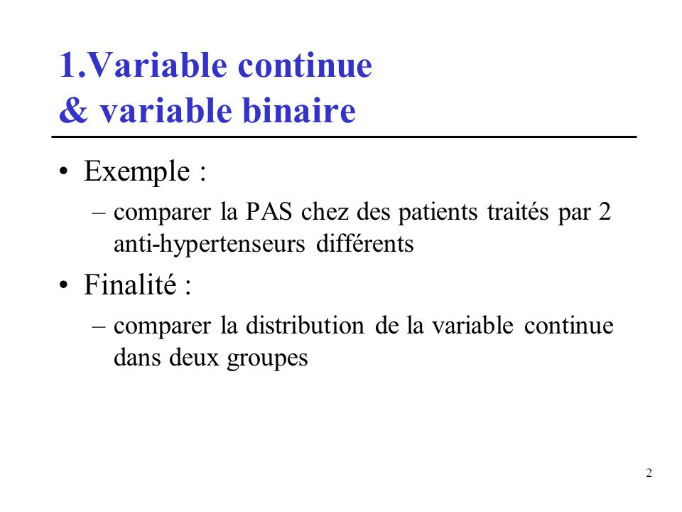 1.Variable continue & variable binaire