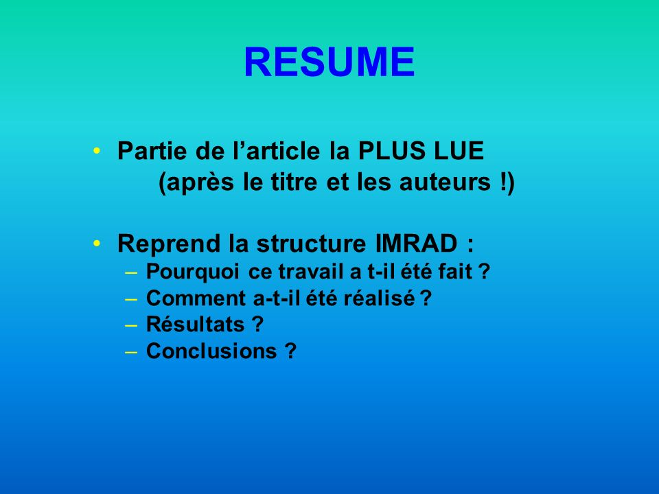 RESUME Partie de l'article la PLUS LUE