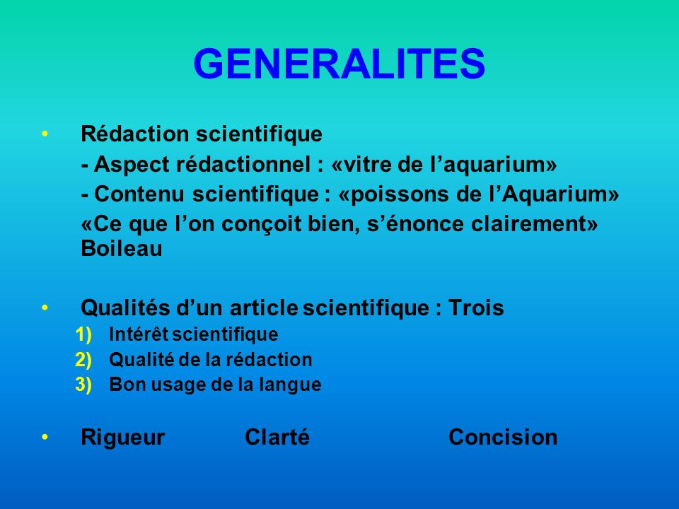 GENERALITES Rédaction scientifique