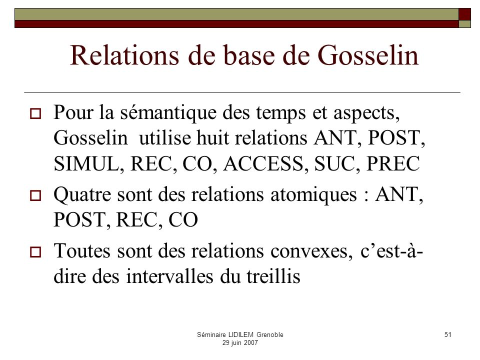 Relations de base de Gosselin