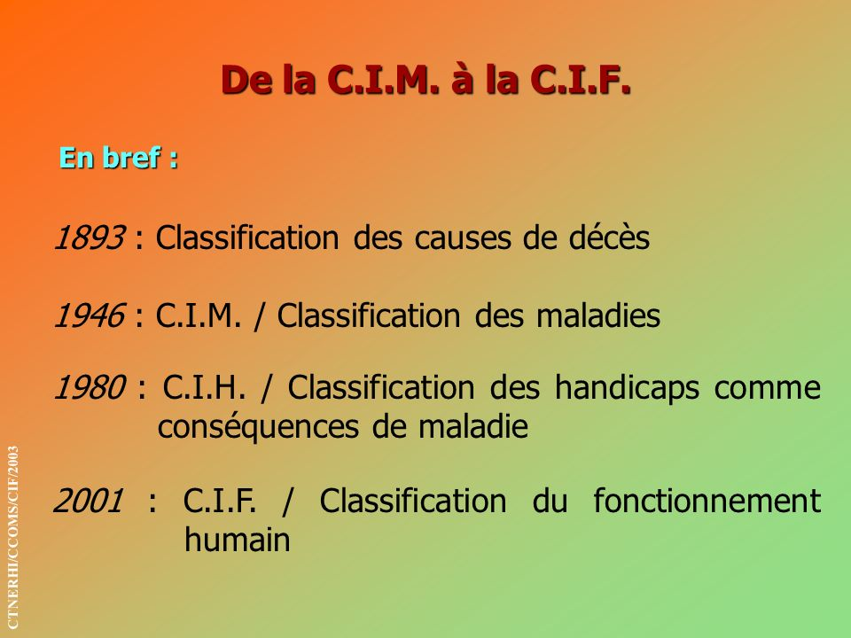 De la C.I.M. à la C.I.F : Classification des causes de décès
