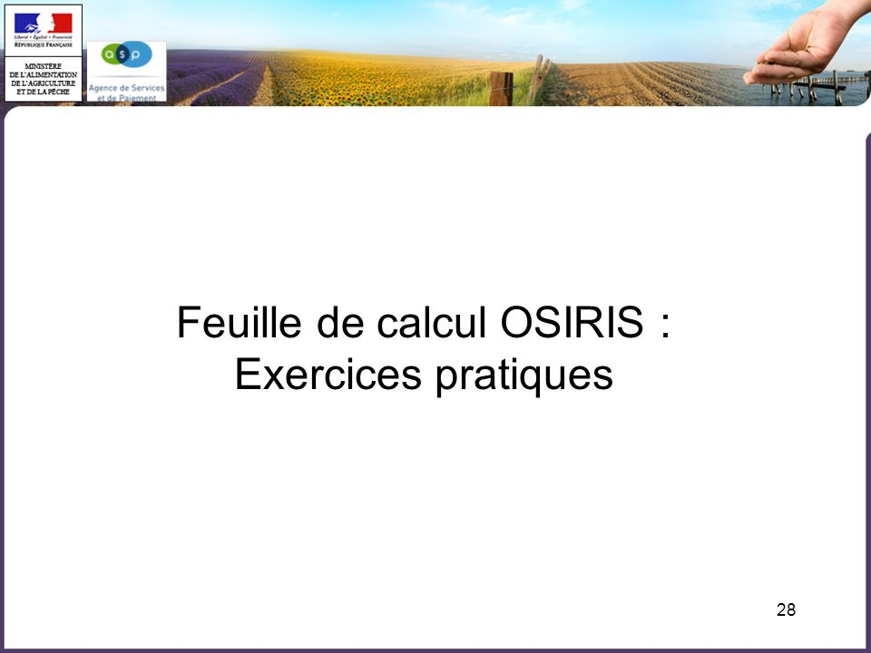 Feuille de calcul OSIRIS :
