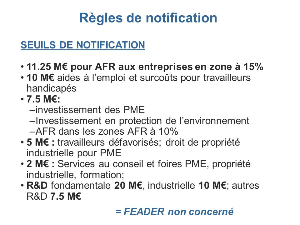 Règles de notification