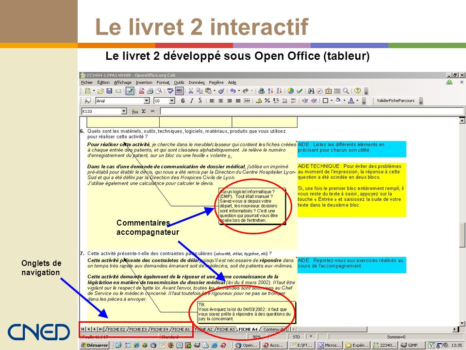 Le livret 2 sous tableur Open office