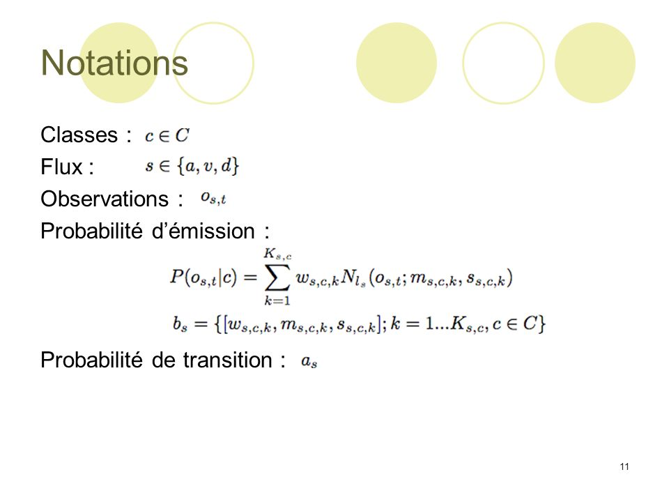 Notations Classes : Flux : Observations : Probabilité d'émission :