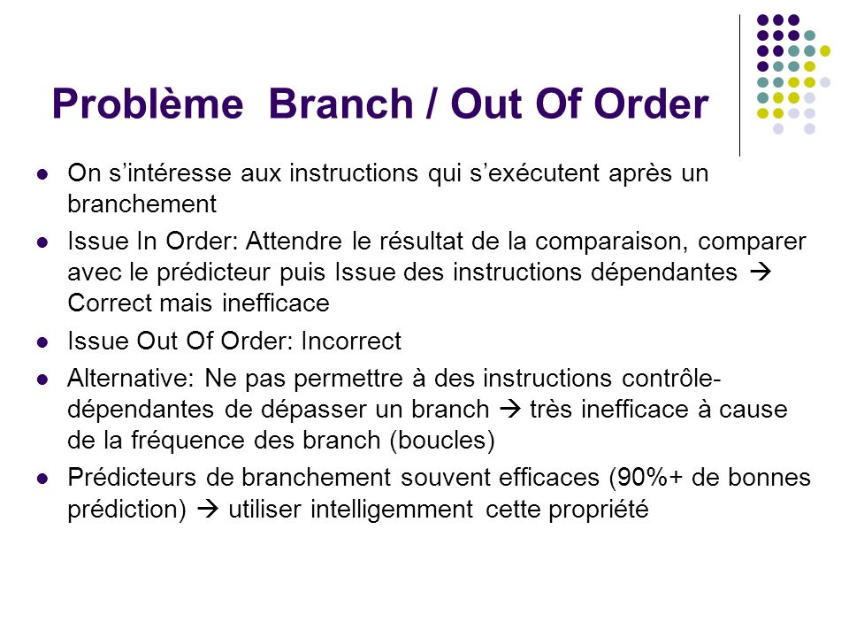 Problème Branch / Out Of Order