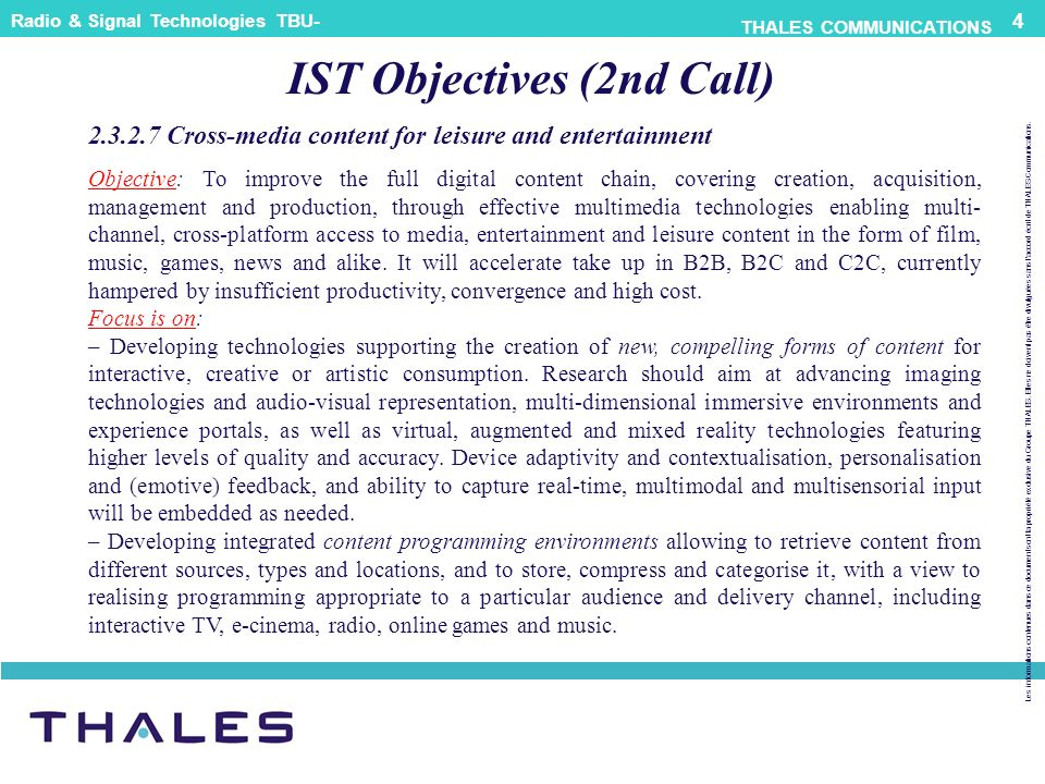 IST Objectives (2nd Call)