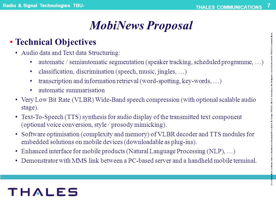 MobiNews Proposal Technical Objectives