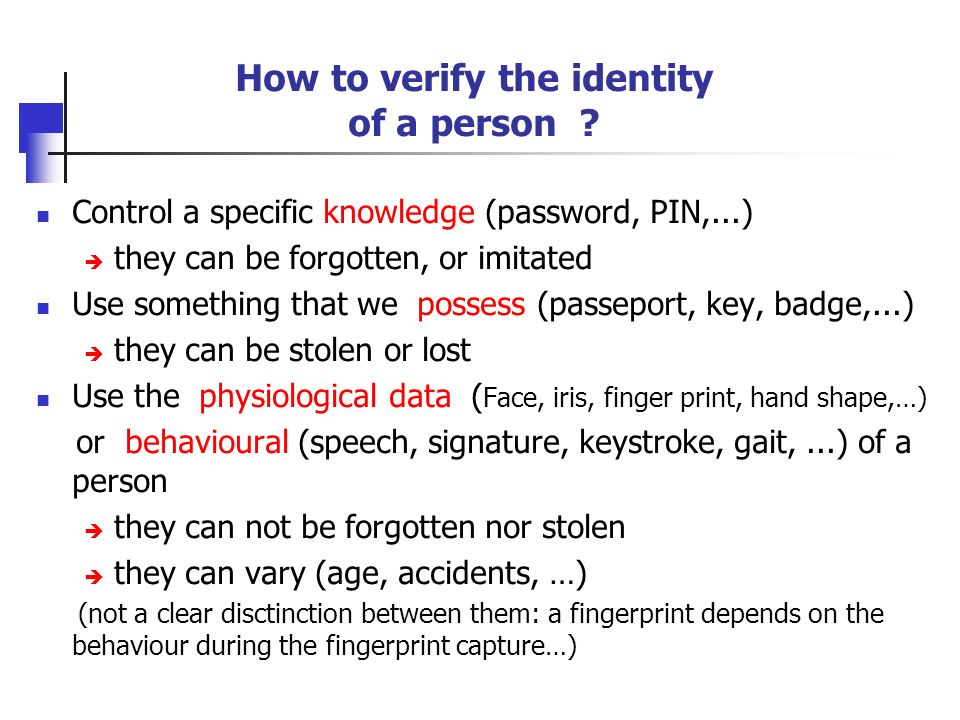 How to verify the identity of a person