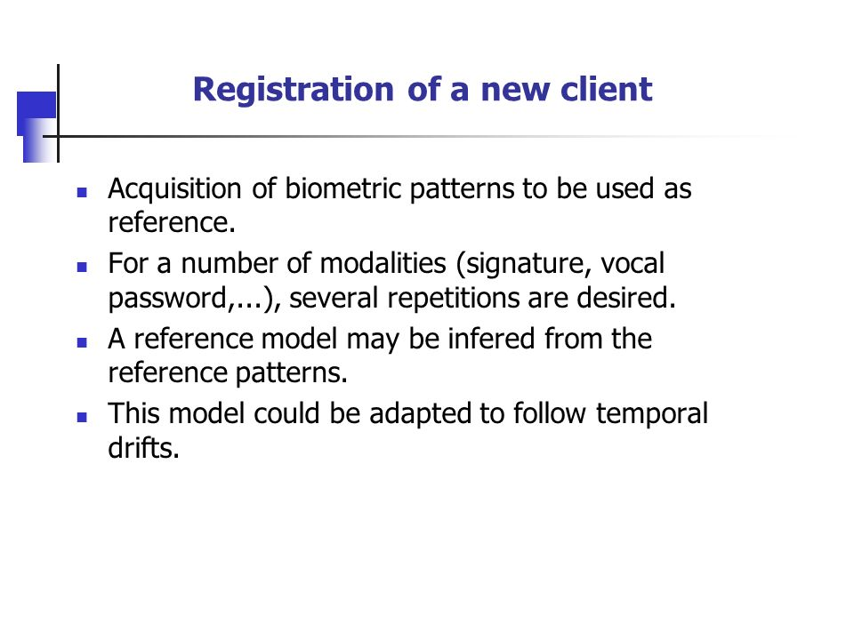 Registration of a new client