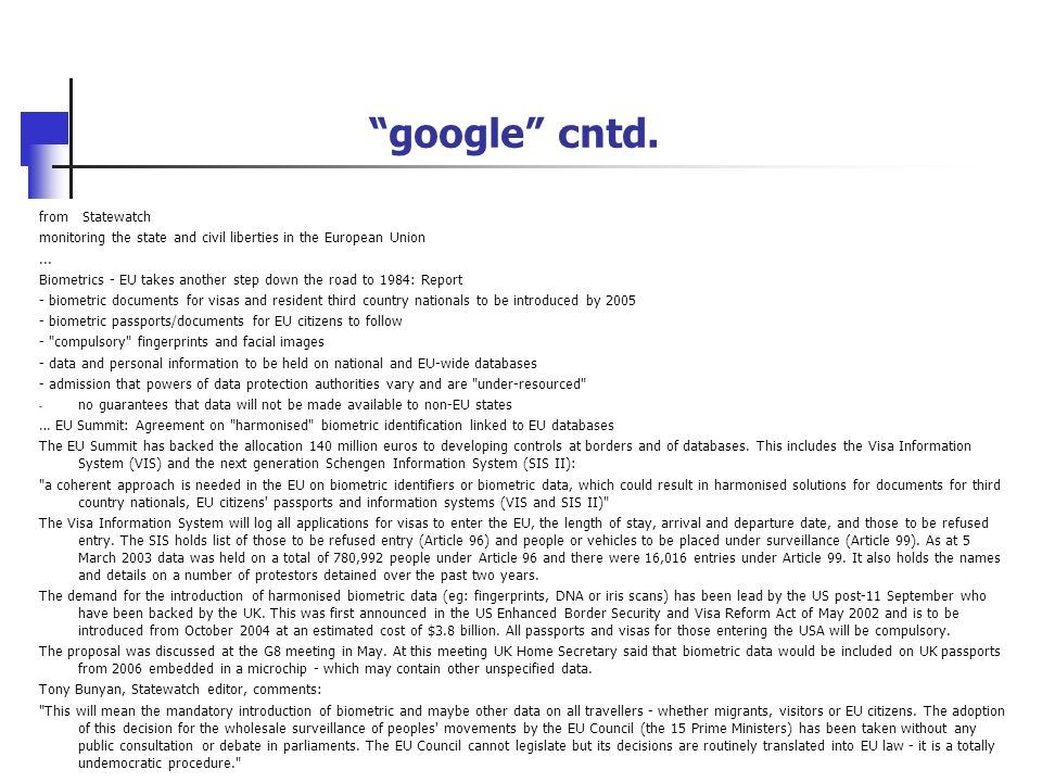 google cntd. from Statewatch