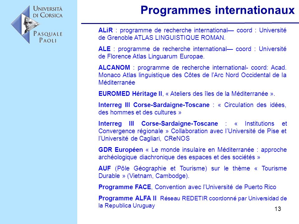 Programmes internationaux