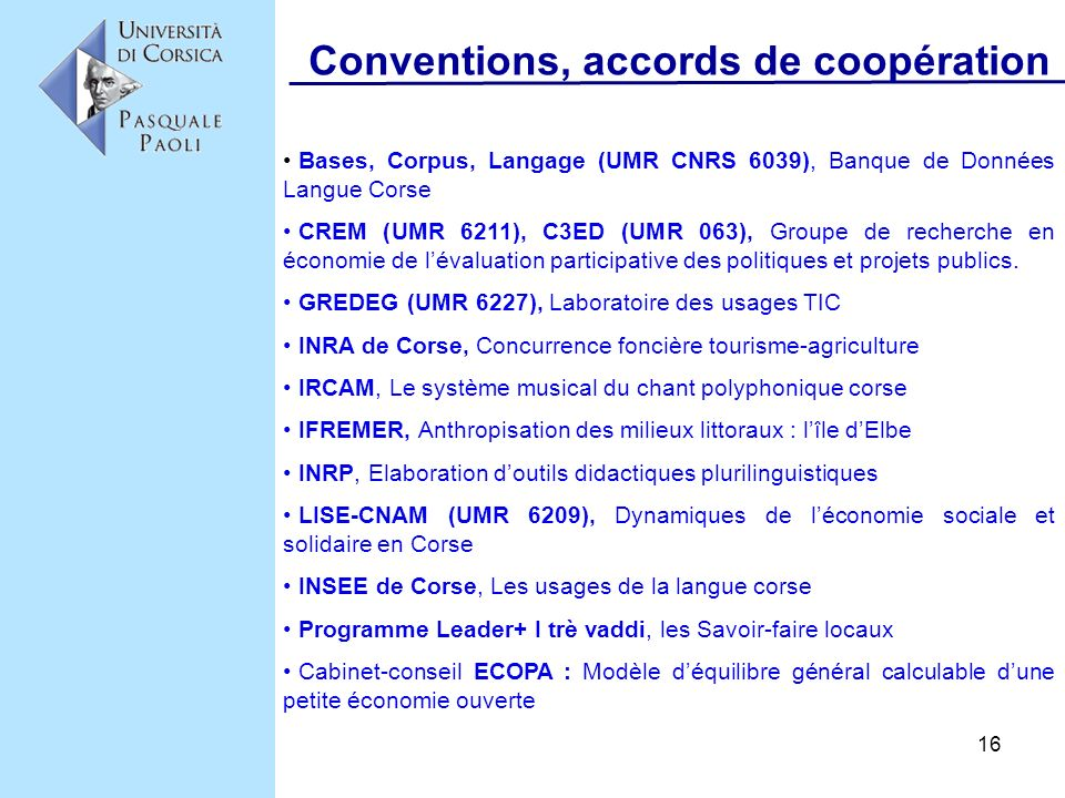 Conventions, accords de coopération
