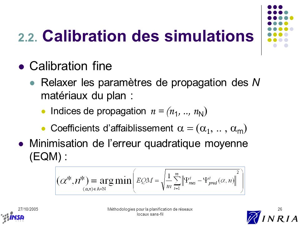 2.2. Calibration des simulations