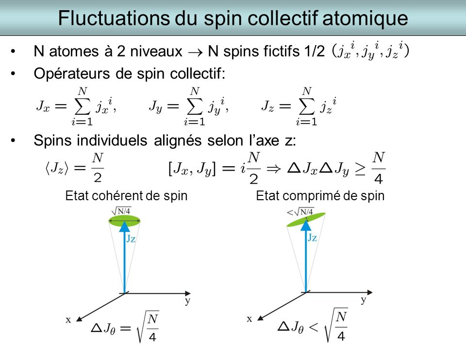 Fluctuations du spin collectif atomique