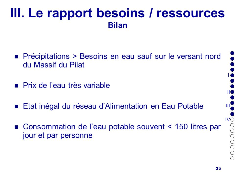 III. Le rapport besoins / ressources Bilan