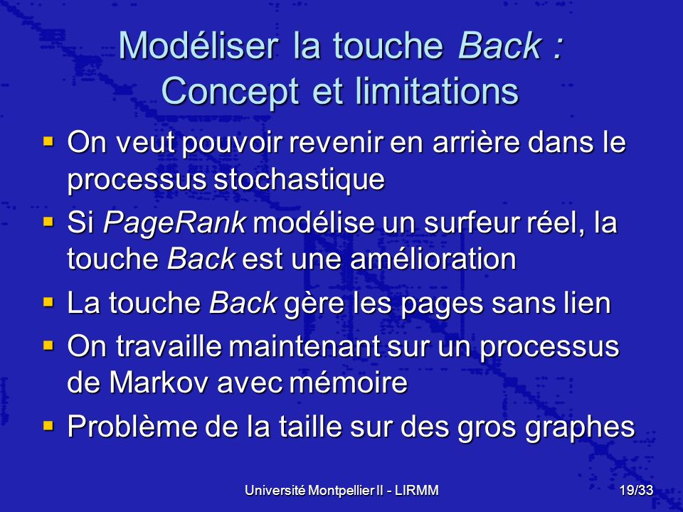 Modéliser la touche Back : Concept et limitations