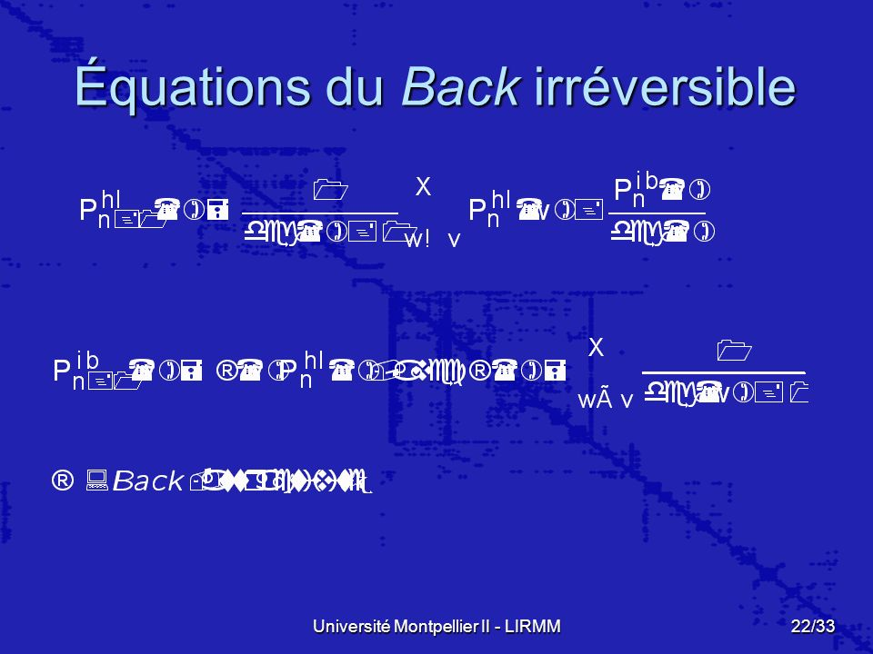 Équations du Back irréversible