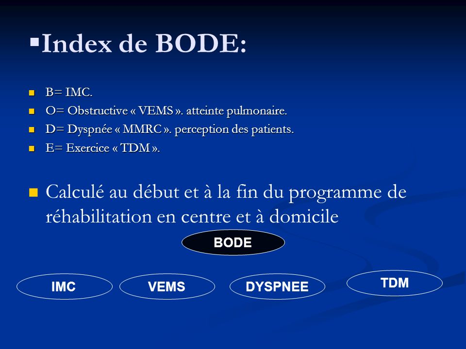 Index de BODE: B= IMC. O= Obstructive « VEMS ». atteinte pulmonaire. D= Dyspnée « MMRC ». perception des patients.