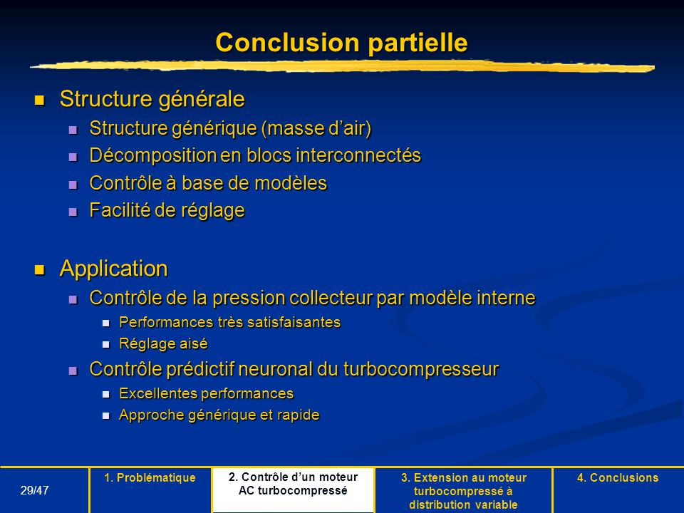 Conclusion partielle Structure générale Application