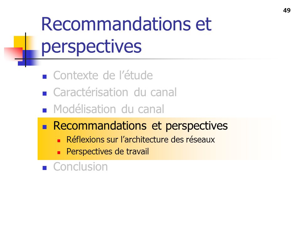 Recommandations et perspectives