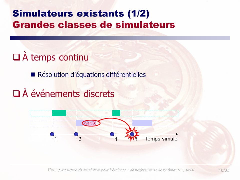 Simulateurs existants (1/2) Grandes classes de simulateurs