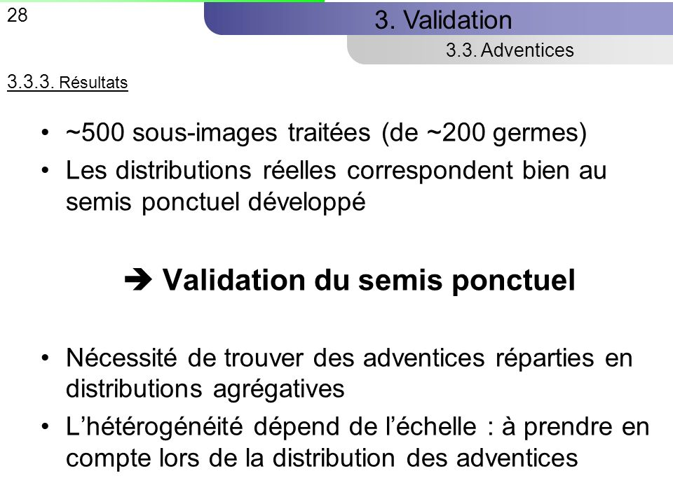  Validation du semis ponctuel
