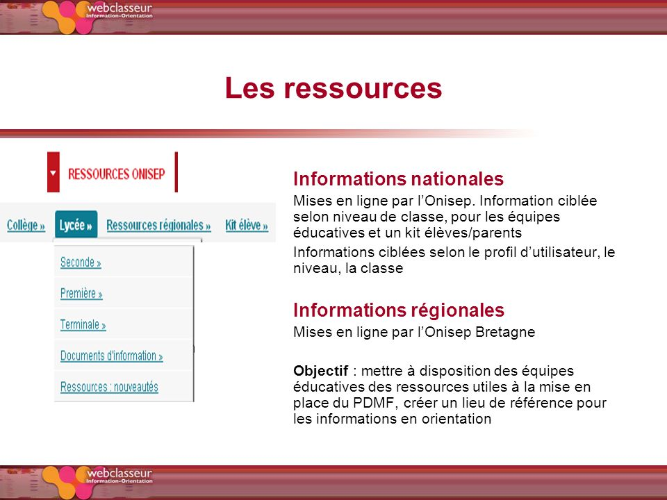 Les ressources Informations nationales Informations régionales