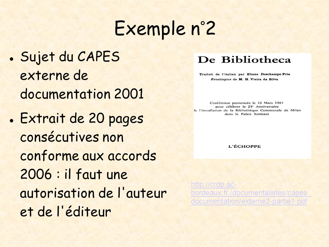 Exemple n°2 Sujet du CAPES externe de documentation 2001
