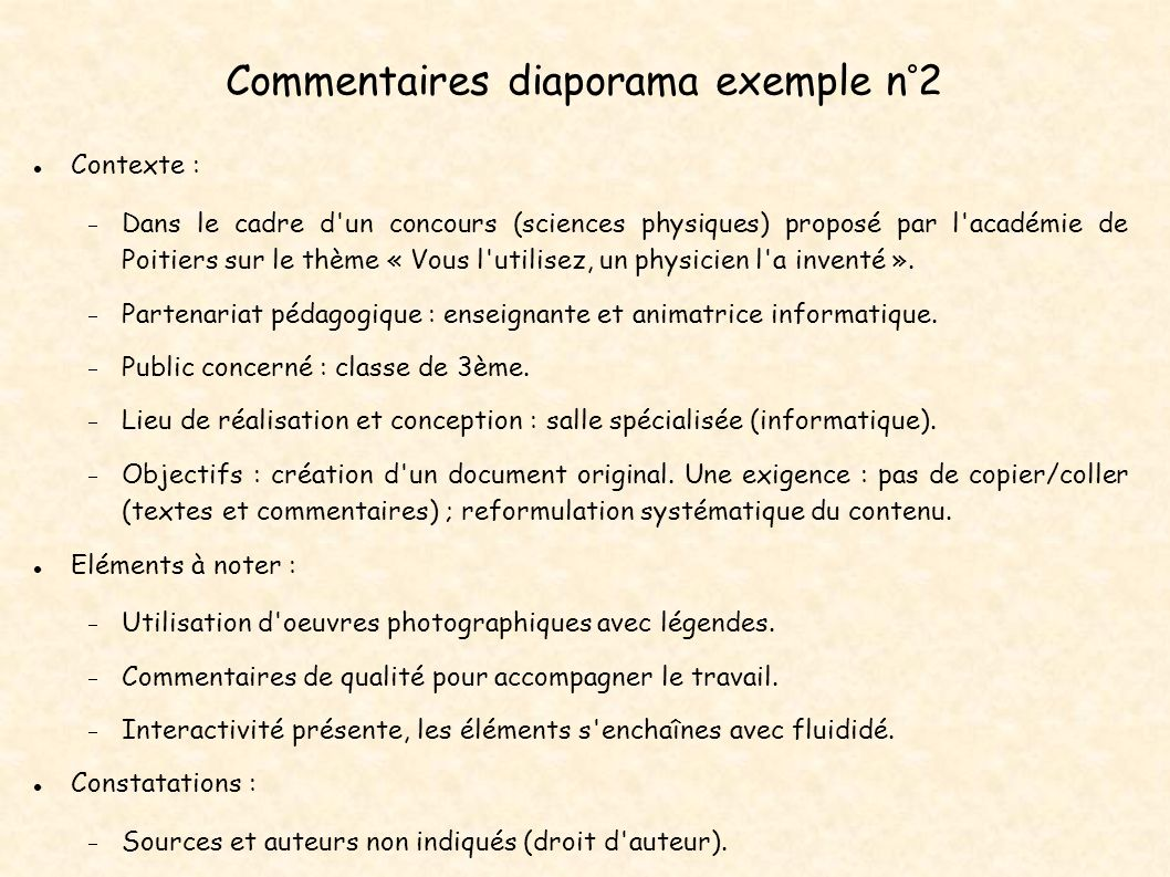 Commentaires diaporama exemple n°2