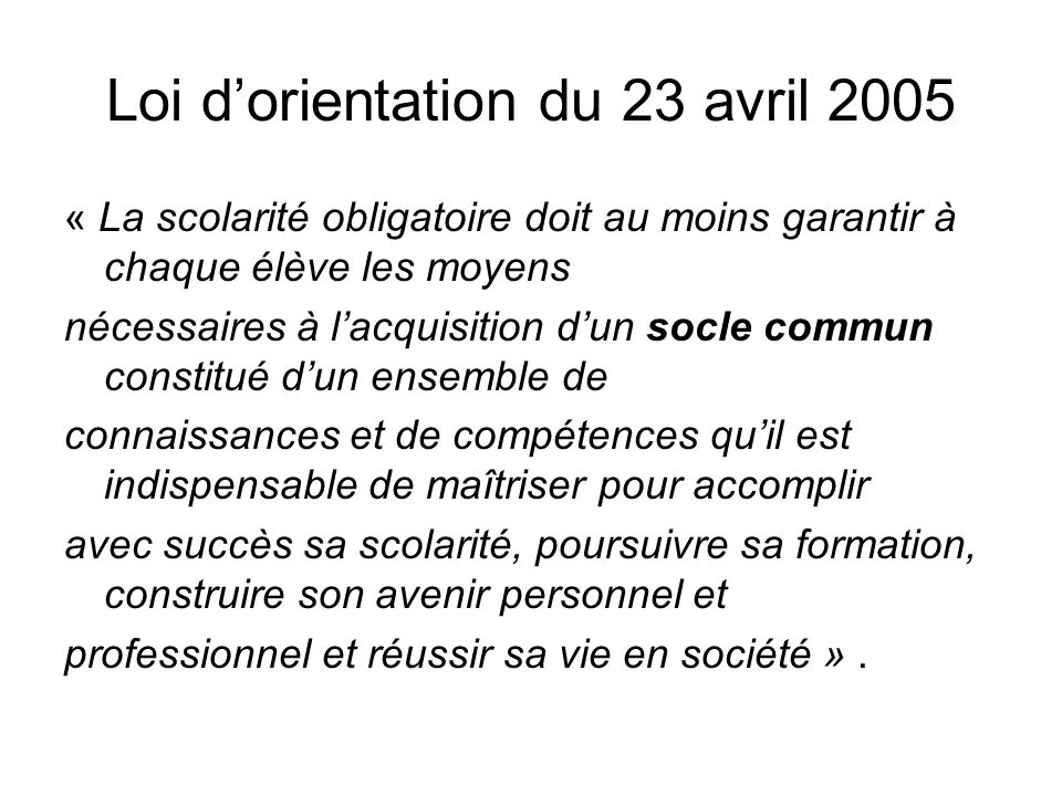 Loi d'orientation du 23 avril 2005