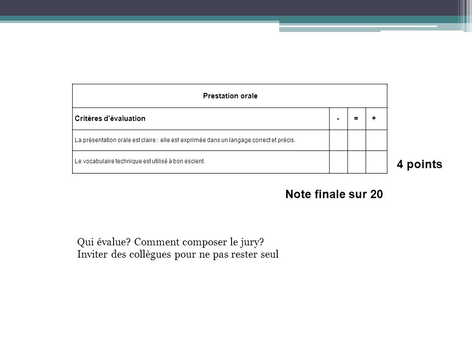 4 points Note finale sur 20 Qui évalue Comment composer le jury