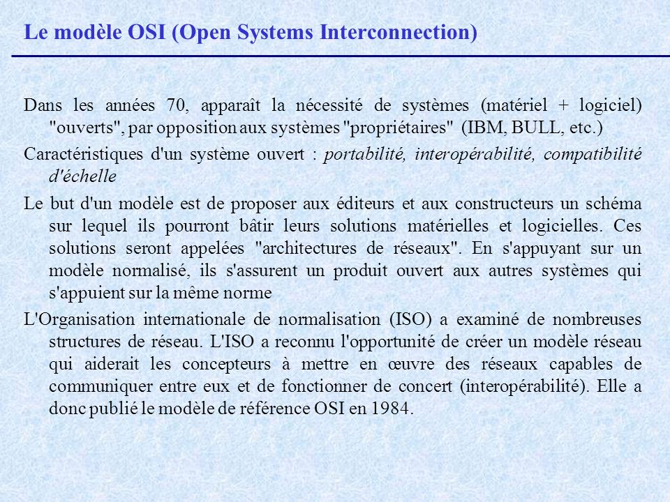 Le modèle OSI (Open Systems Interconnection)