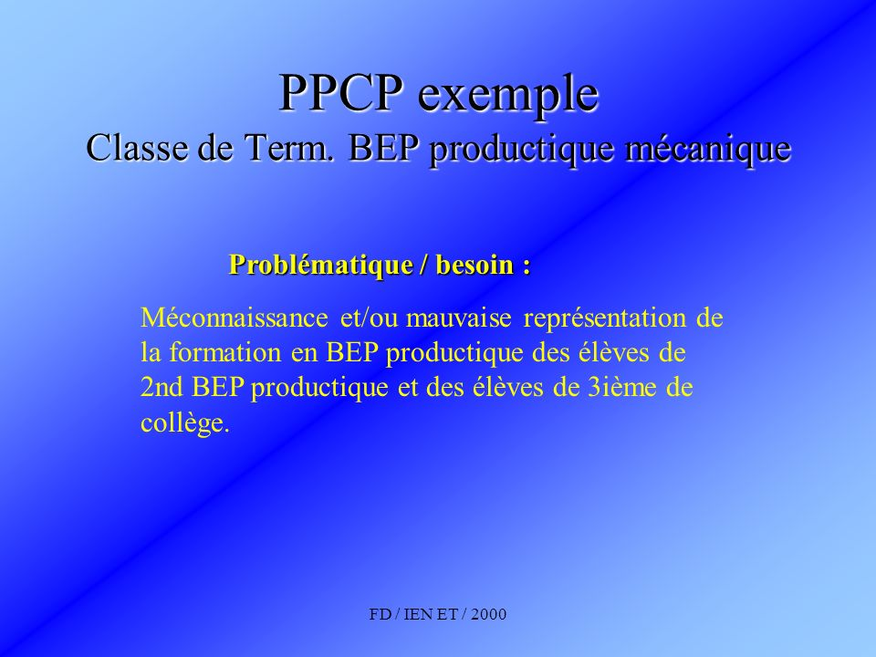 PPCP exemple Classe de Term. BEP productique mécanique