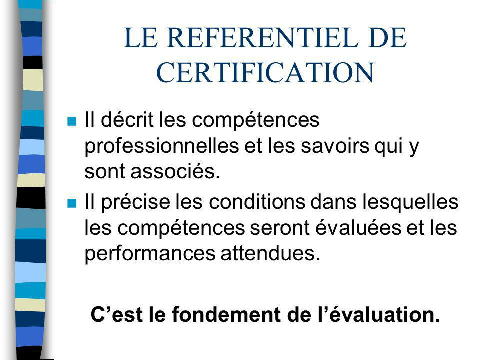 LE REFERENTIEL DE CERTIFICATION