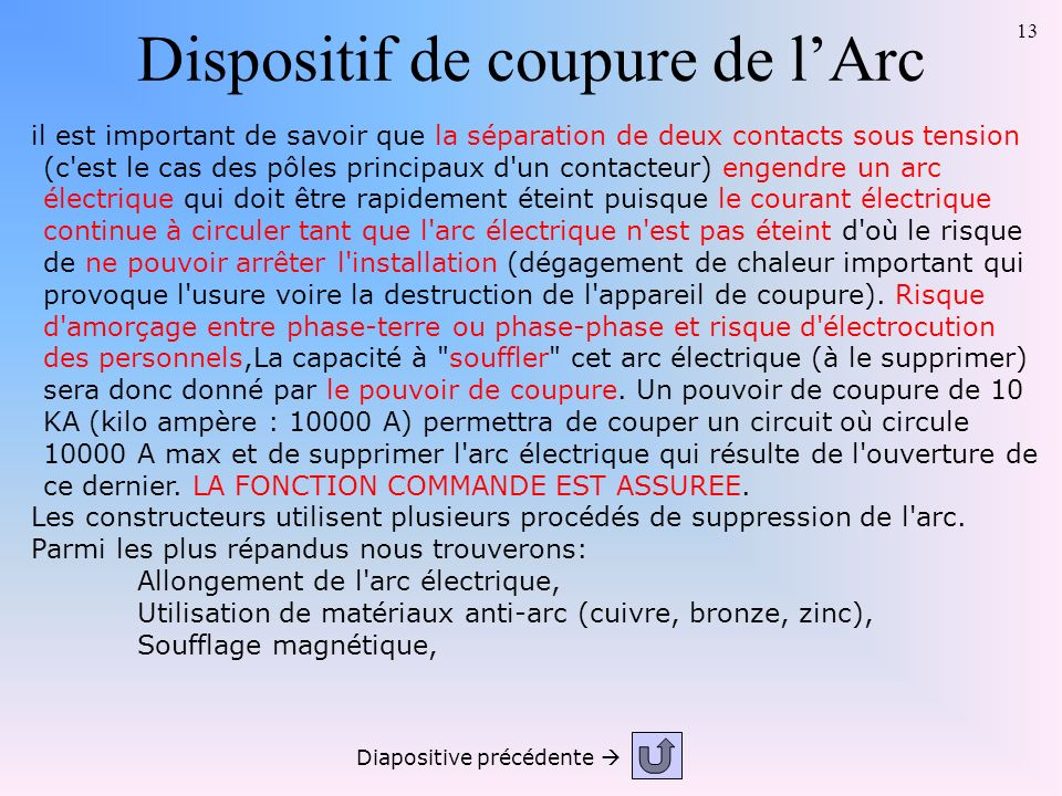 Dispositif de coupure de l'Arc
