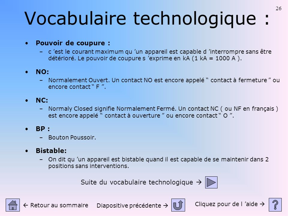Vocabulaire technologique :