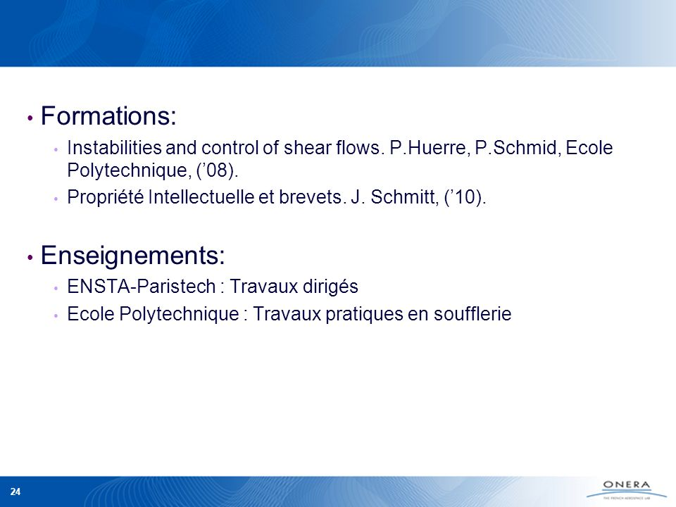 Formations: Enseignements: