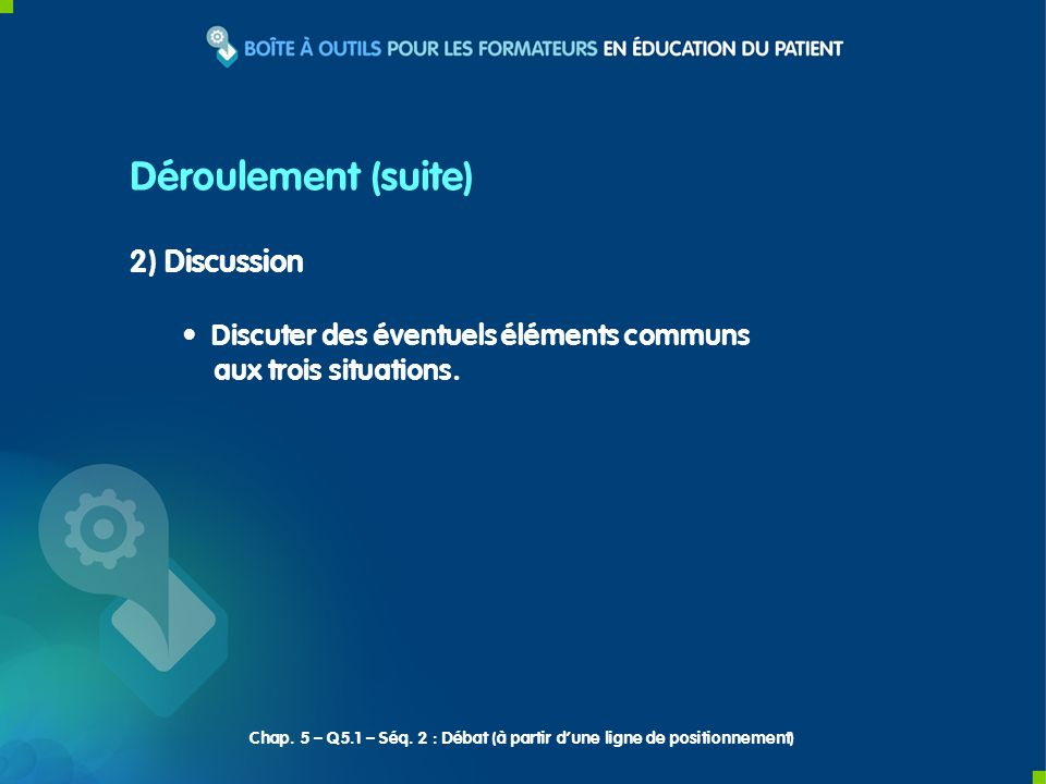Déroulement (suite) 2) Discussion