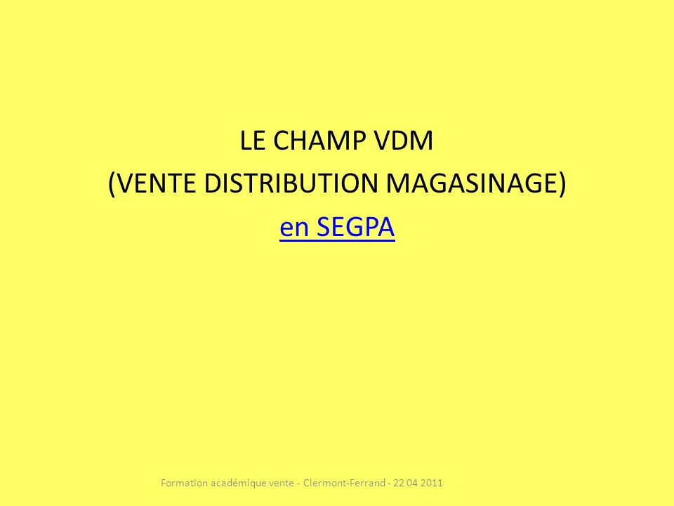 (VENTE DISTRIBUTION MAGASINAGE) en SEGPA