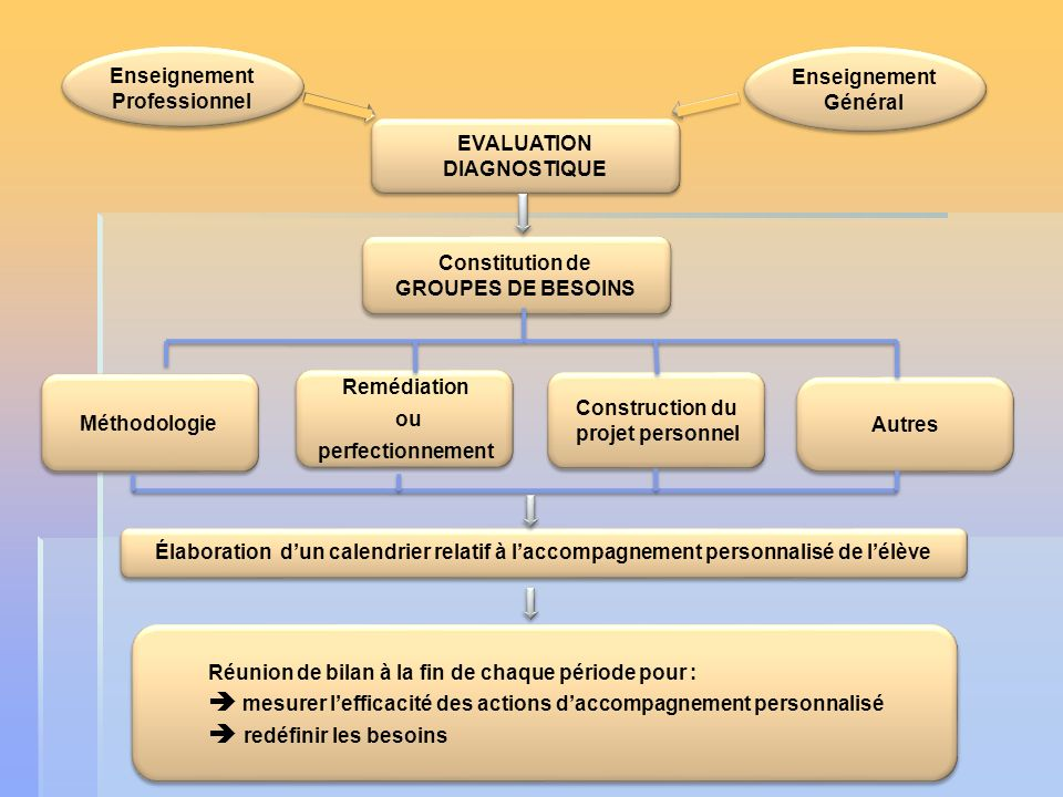 EVALUATION DIAGNOSTIQUE Construction du projet personnel