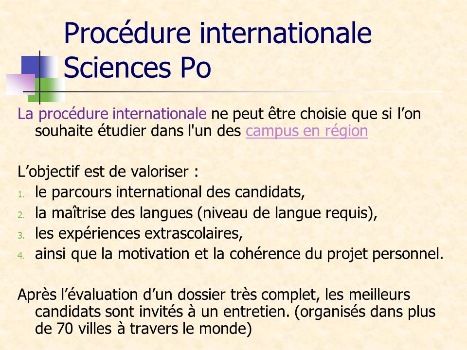 Procédure internationale Sciences Po