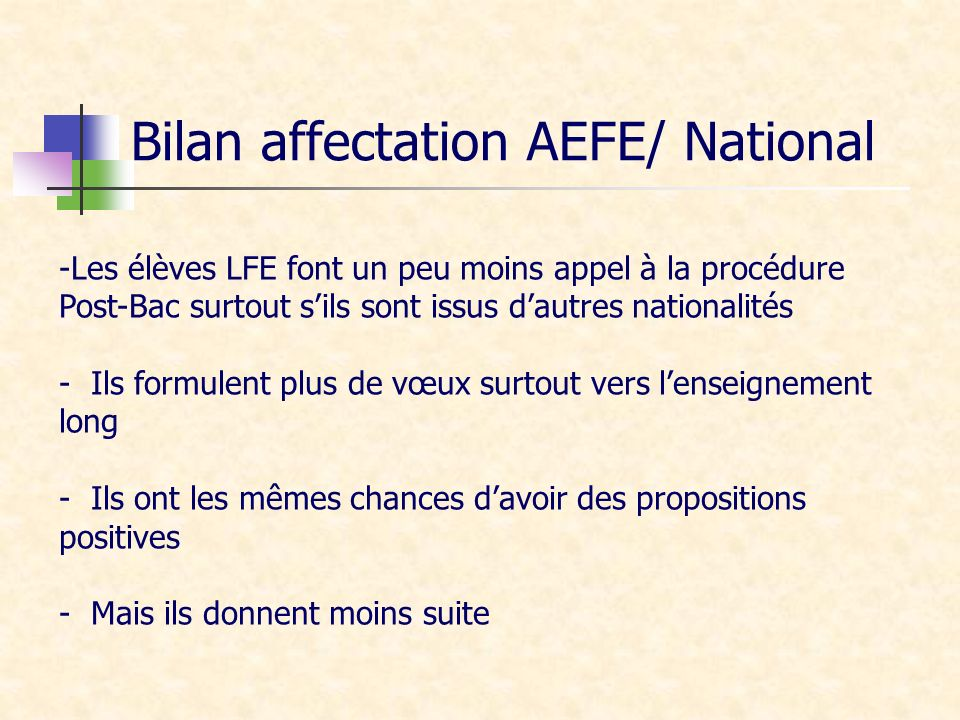 Bilan affectation AEFE/ National