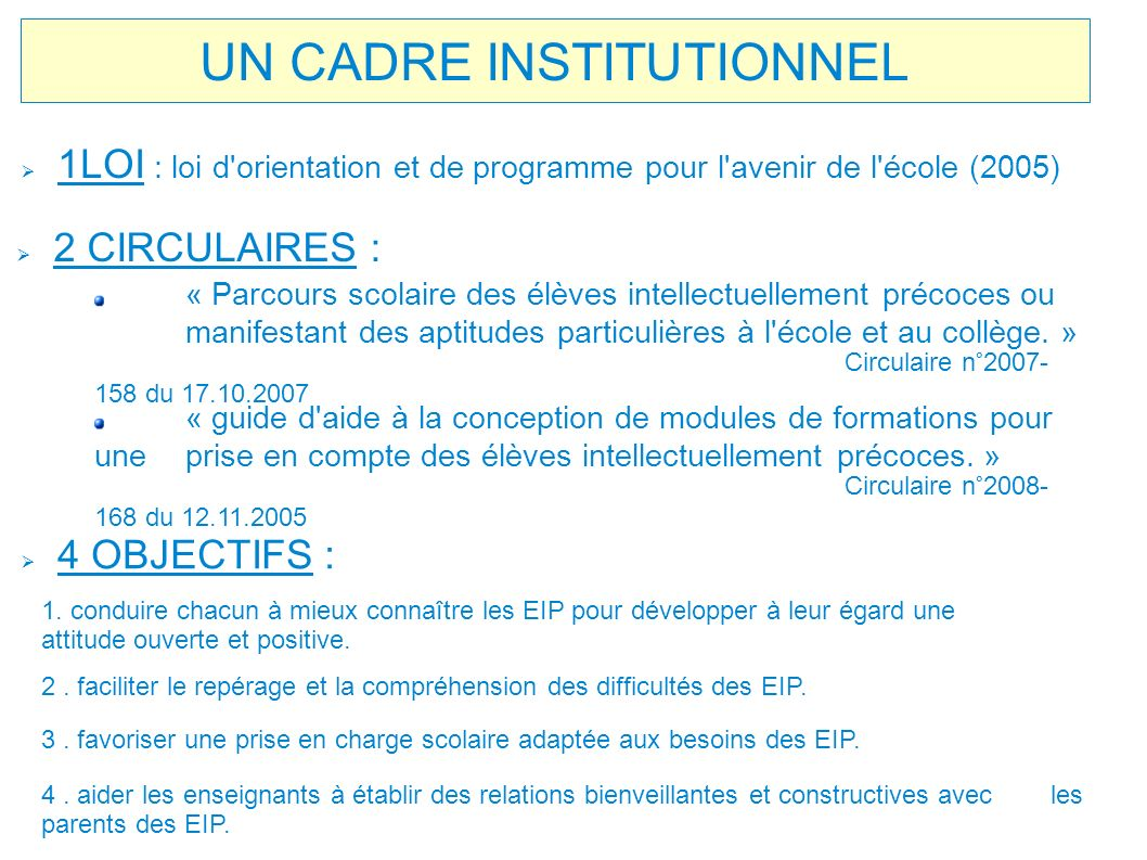 UN CADRE INSTITUTIONNEL