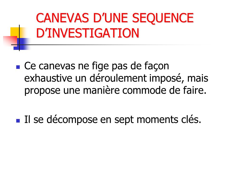 CANEVAS D'UNE SEQUENCE D'INVESTIGATION