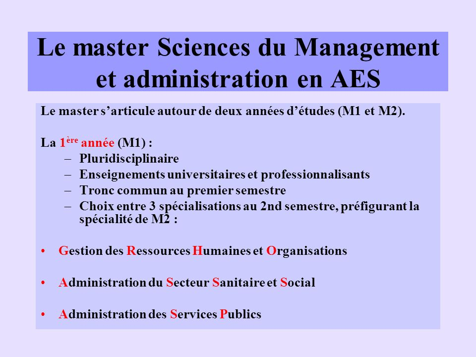 Le master Sciences du Management et administration en AES
